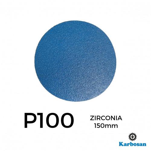 "1 Box: P100 - Karbosan - Zirconia - Hook & Loop Sanding Discs - 150mm - 6"" - (50/Box)"