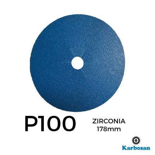 "1 Box: P100 - Karbosan - Zirconia - Hook & Loop Sanding Discs - 178mm - 7"" - (50/Box)"