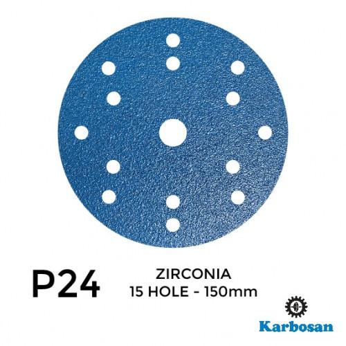 "1 Box: P24 - Karbosan - Zirconia - Hook & Loop Sanding Discs - 15 Hole - 150mm - 6"" - With 17mm Centre Hole - (50/Box)"