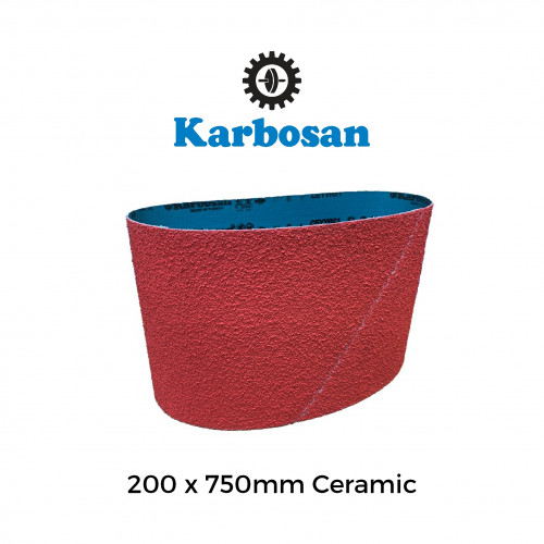 "P100 - Karbosan - Ceramic - Polyester Cloth Backed Sanding Belt - 200x750mm - 8"""
