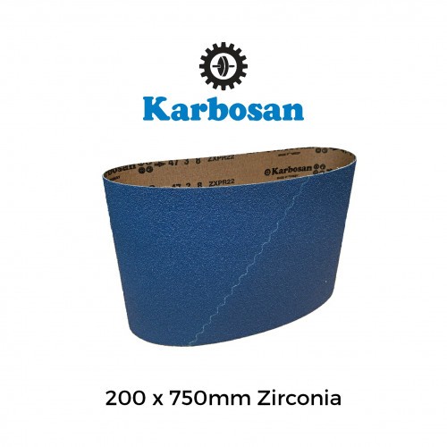 "P100 - Karbosan - Zirconia 100%  - PolyCotton Cloth Backed Sanding Belt - 200x750mm - 8"""