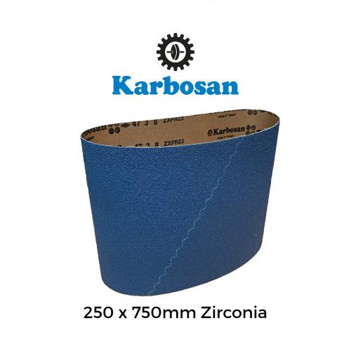 "P100 - Karbosan - Zirconia 100%  - PolyCotton Cloth Backed Sanding Belt - 250x750mm - 10"""