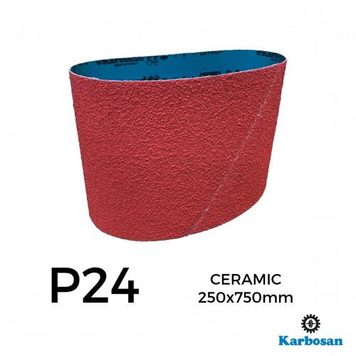 "P24 - Karbosan - Ceramic - Polyester Cloth Backed Sanding Belt - 250x750mm - 10"""