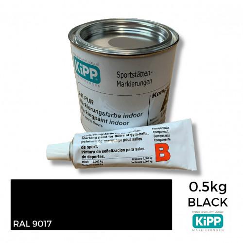 0.5kg: Kipp - Black - 2K Polyurethane - Indoor Court Line Marking Paint - 0.44kg + 0.06kg Hardener