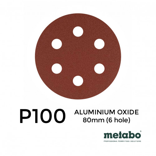 "P100 - Metabo - Aluminium Oxide - Hook & Loop Sanding Discs - 6 Hole - 80mm - 3.15"" - (25/pk)"