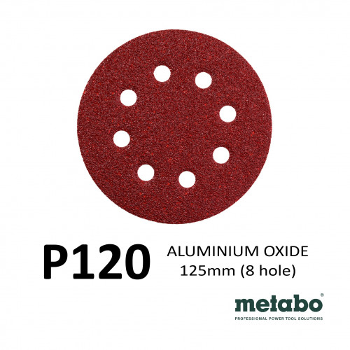 "P120 - Metabo - Aluminium Oxide - Hook & Loop Sanding Discs - 8 Hole - 125mm - 5"" - (25/pk)"