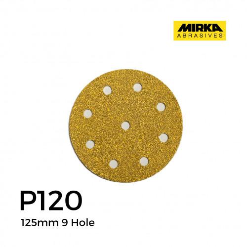 """P120 - Mirka - Aluminium Oxide - Hook & Loop Sanding Discs - 9 Hole - 125mm - 5"""" - (100/Box)"""