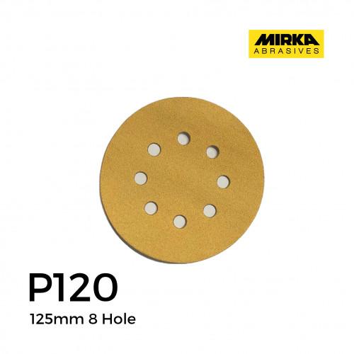 """P120 - Mirka - Aluminium Oxide - Hook & Loop Sanding Discs - 8 Hole - 125mm - 5"""" - (100/Box)"""