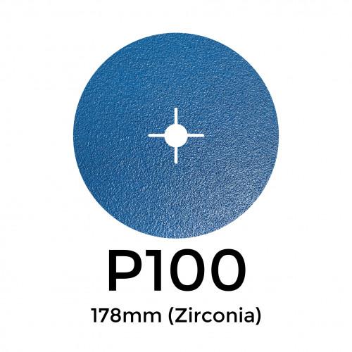 """1 Box: P100 - Starcke - Zirconia - Hook & Loop Sanding Discs - 178mm - 7"""" - (50/box)"""