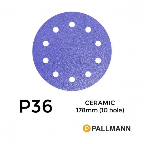 "1 Box: P36 - Pallmann - Ceramic - Hook & Loop Sanding Discs - 10 Hole - 178mm - 7"" - (25/Box)"