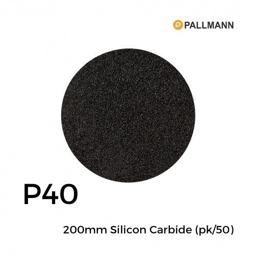1 Box: P40 - Pallmann - Silicon Carbide - Hook & Loop Sanding Discs - 200mm - (50/Box)