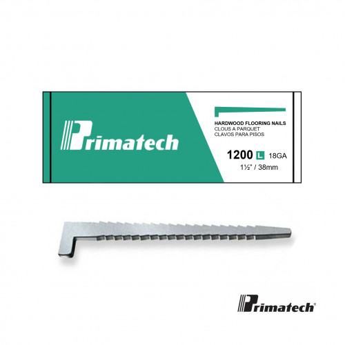 1 Box: Primatech - Overlay L Nails - 38mm - 18 gauge - (1200/Box) - Green Box -  for use in overlay nailers