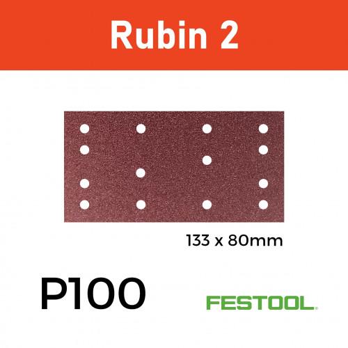 1 Box: P100 - Festool - Rubin2 - StickFix - Hook & Loop Sanding Sheets - (499049) - 80x133mm - (50/Box)