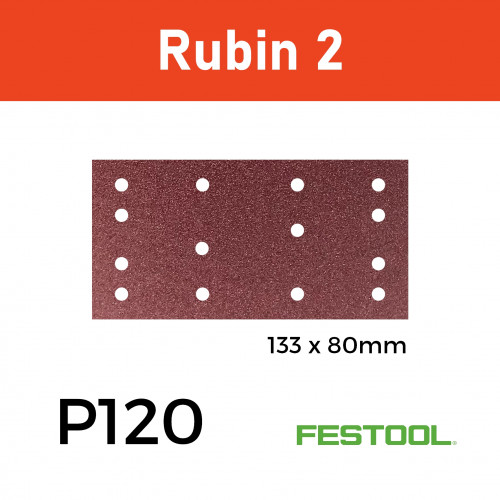 1 Box: (499050)  P120 - Festool - Rubin2 - StickFix - Hook & Loop Sanding Sheets -  - 80x133mm - (50/Box)