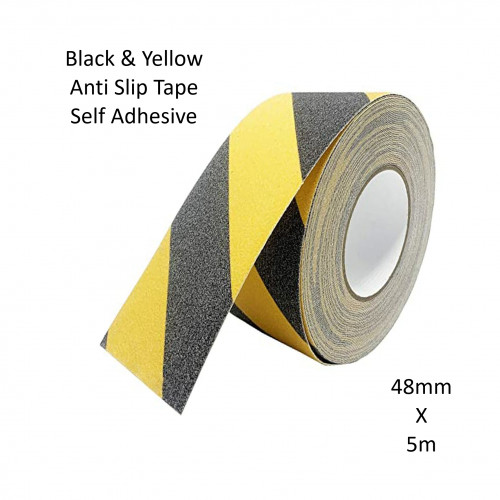 1 Roll: FS - Safety Track - Anti Slip Safety Grip Tape - Self Adhesive - Black & Yellow - 48mm x 5m