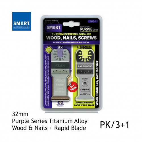1pk: Smart Blade - 32mm - Purple SeriesTitanium Alloy Long Life Wood & Nails + Rapid Blade - (3/pk)