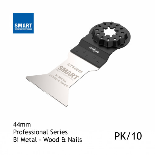 1pk: Smart Blade - 44mm Width x 42mm Depth of Cut - Starlock Professional Series - Bi-Metal Wood & Nails - (10/pk)
