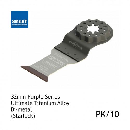 1pk: Smart Blade - 32mm Width x 42mm Depth of Cut - Starlock Purple Series - Titanium Alloy Bi-Metal Wood & Nails - (10/pk)
