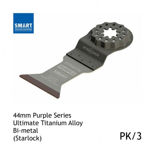 1pk: Smart Blade - 44mm Width x 46mm Depth of Cut - Starlock Purple Series - Titanium Alloy Bi-Metal Wood & Nails - (3/pk)
