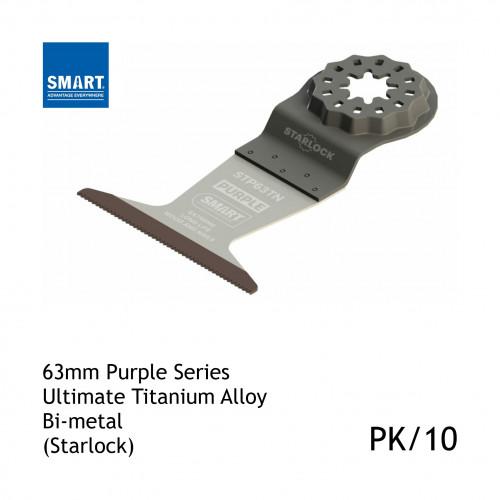 1pk: Smart Blade - 63mm Width x 46mm Depth of Cut - Starlock Purple Series - Titanium Alloy Bi-Metal Wood & Nails - (10/pk)
