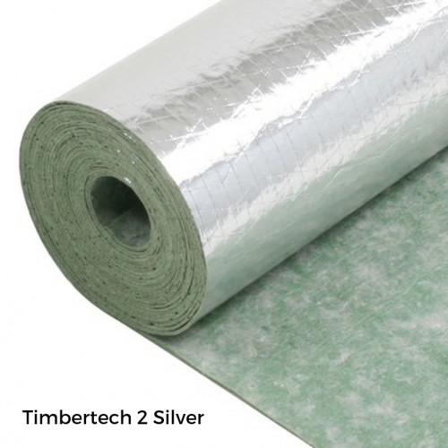 1 Roll: Timbertech2 Silver - 2mm Rubber Fleece & Vapour Barrier - Green End - 1m x 10m x 2mm - (10m²/Roll)