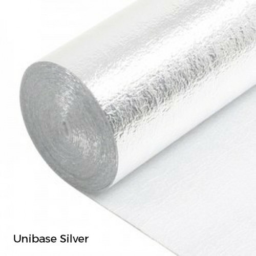1 Roll: Unibase Silver - 2mm Cushion Underlay with Vapour Barrier - 1m x 15m x 2mm - (15m²/Roll)