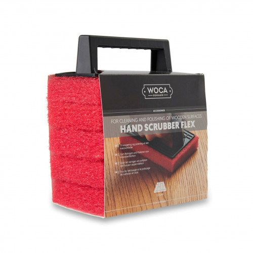 WOCA - Hand Scrubber Flex Kit - Includes 1 x Grab Handle - 5 x Red Pads - For cleaning and polishing of wooden surfaces