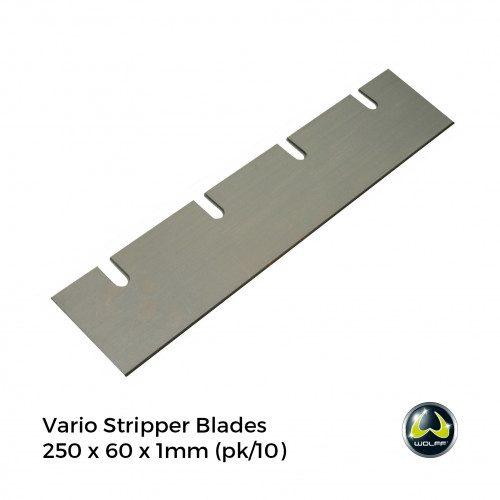 1pk: Wolff - Vario Stripper - Spare Blades For Carpet - 250 x 60x 1mm - (10/pk)